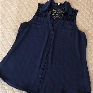 Women's Express Portofino Shirt Navy Blue Lace